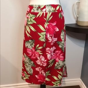 SHEIN red tropical pencil skirt